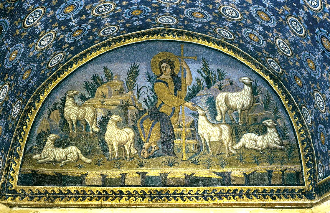 Christ as the Good Shepherd set into barrel vault at Mausoleum of Galla Placidia, Ravenna