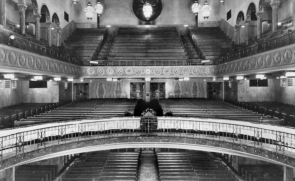 View of three levels of seating as originally designed
