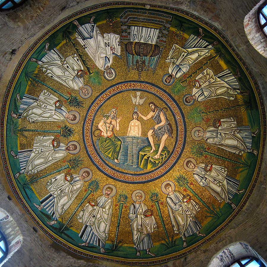 Dome, Arian Baptistry, Ravenna, with Baptism of Christ and Apostles © vvoe/shutterstock.com