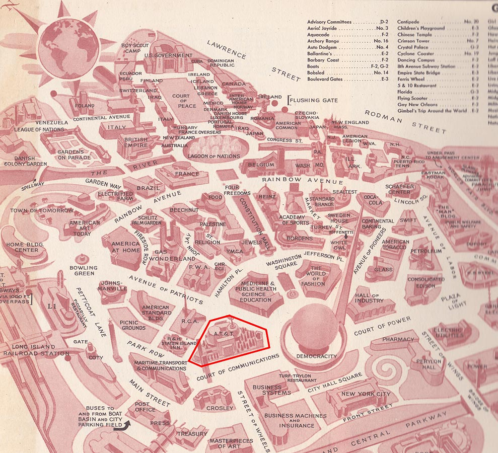 Detail of map from Official Guide Book – New York World