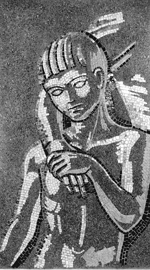 Detail of boy from The Family in silhouette mosaic