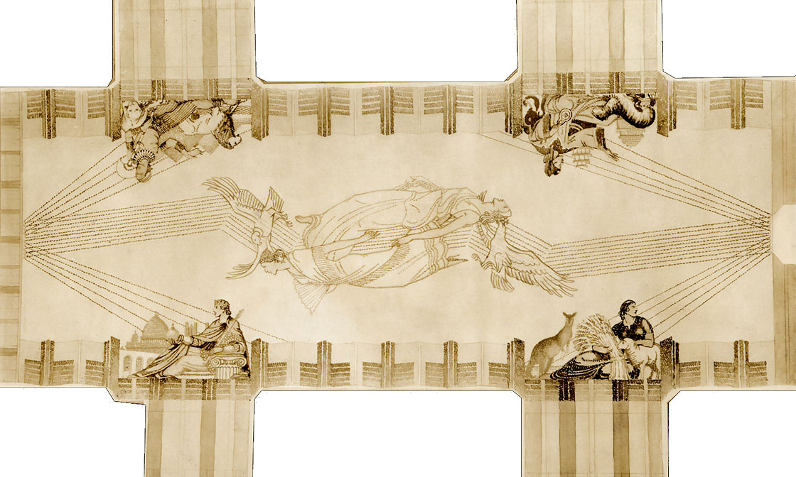 Hildreth Meière's sketch in graphite for lobby ceiling