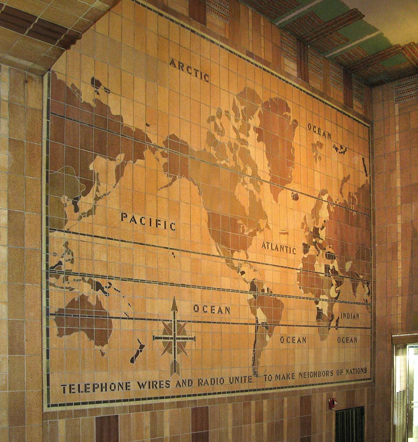 Telephone Wires and Radio Unite to Make Neighbors of Nations, map at lobby entrance