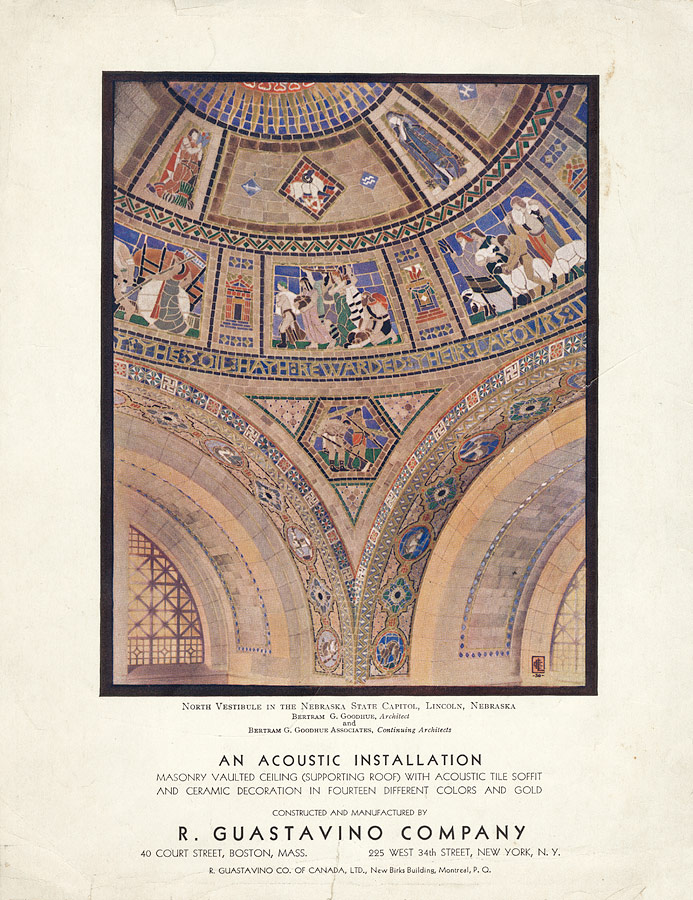Guastavino advertisement, 1930, with reproduction of to-scale study for vestibule dome, Nebraska State Capitol, by Hildreth Meière, 1924