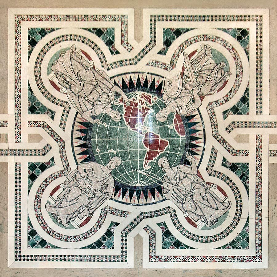 Seated figures representing Baltimore Industry on banking hall floor