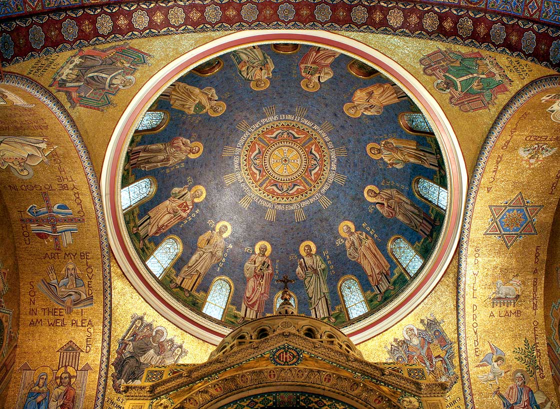 North dome with the Twelve Apostles; St. Cyril in pendentive on the top left; St. John Chrysostom in pendentive on top right; and eastern arch soffit with Melchizedek and Abraham and Isaac on far right