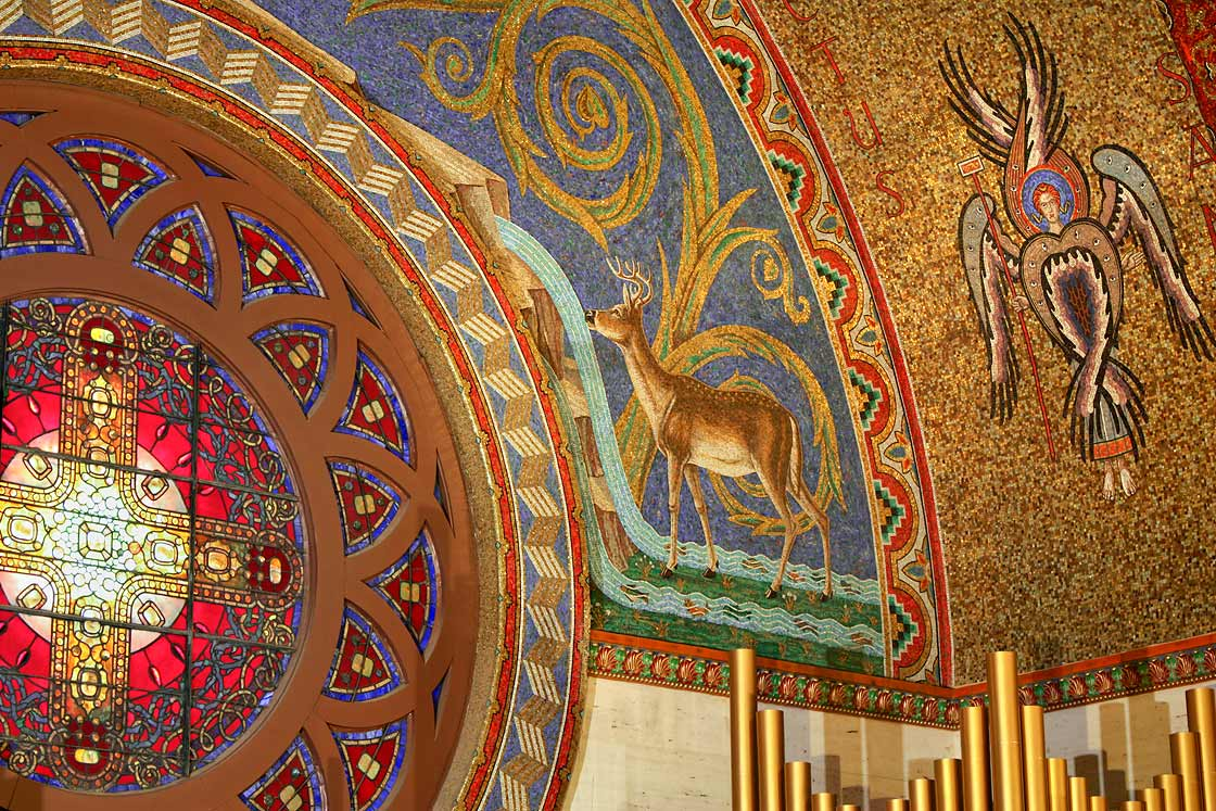 Detail of Drinking Deer and Meandering Grapevine surrounding the rose window on right side of north wall