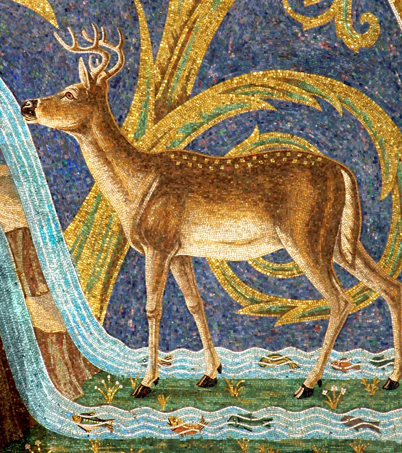 Drinking Deer on right side of north wall in glass mosaic