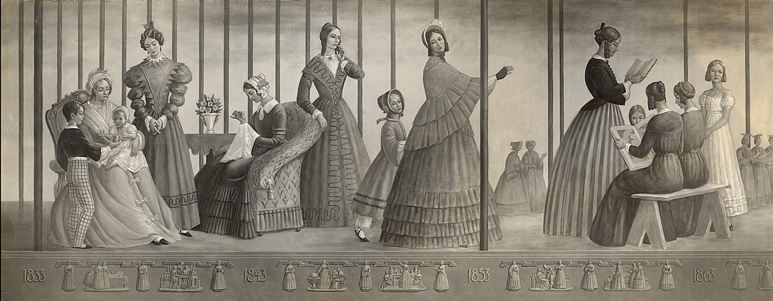 Section one of Progress of Women, 1833-1933, with frieze below