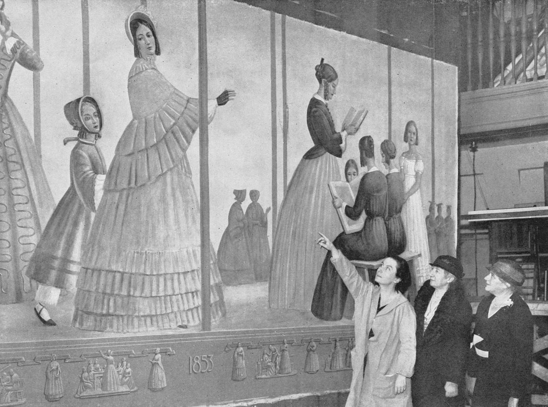Meière showing mural to representatives of the National Council of Women
