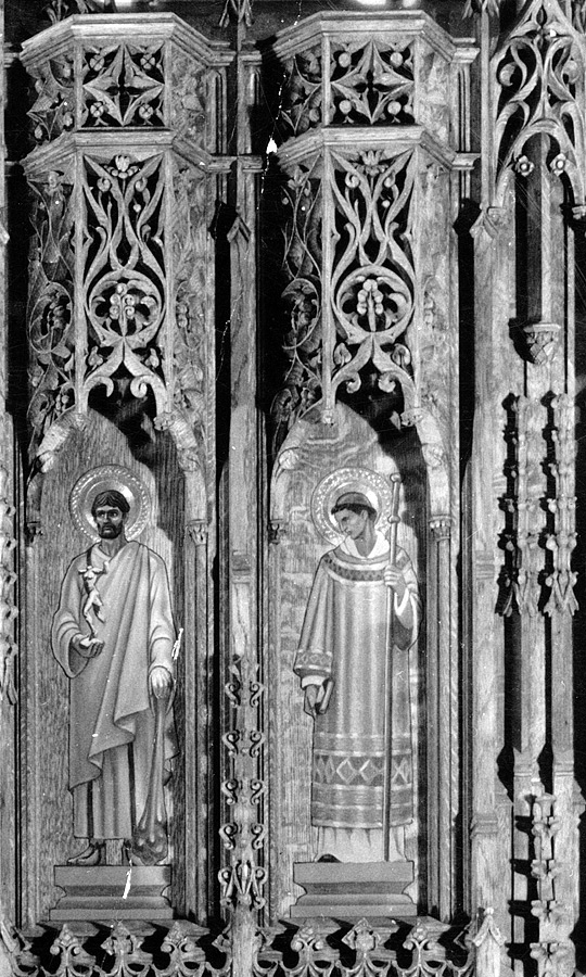 Detail of wood carving by Louis Ross, with Saint Barnabas and Saint Timothy by Meière