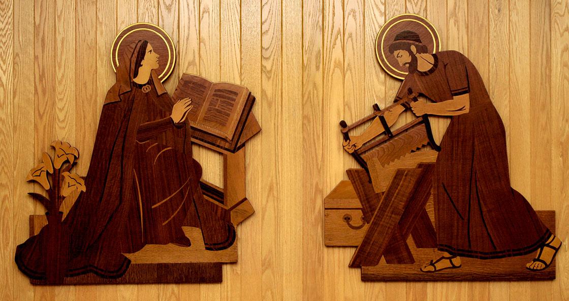 Relief sculptures in wood inlay