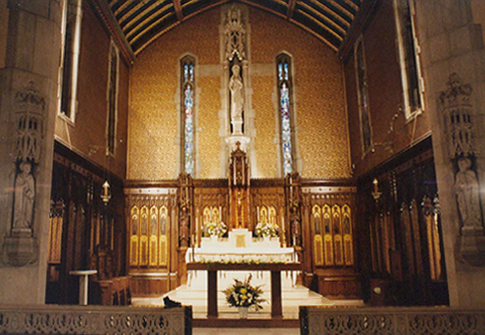 Wall behind altar of main chapel