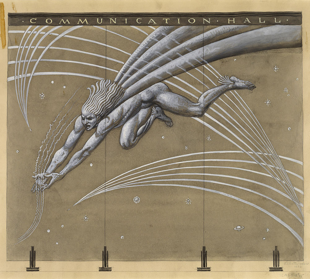 Design for Sand-Blasted Glass Mural: Mercury Gathering Air Waves Amidst Planets and Stars, 1932. Museum purchase from Drawings and Prints Council Fund. 2001-10-1. Cooper Hewitt Smithsonian Design Museum, New York