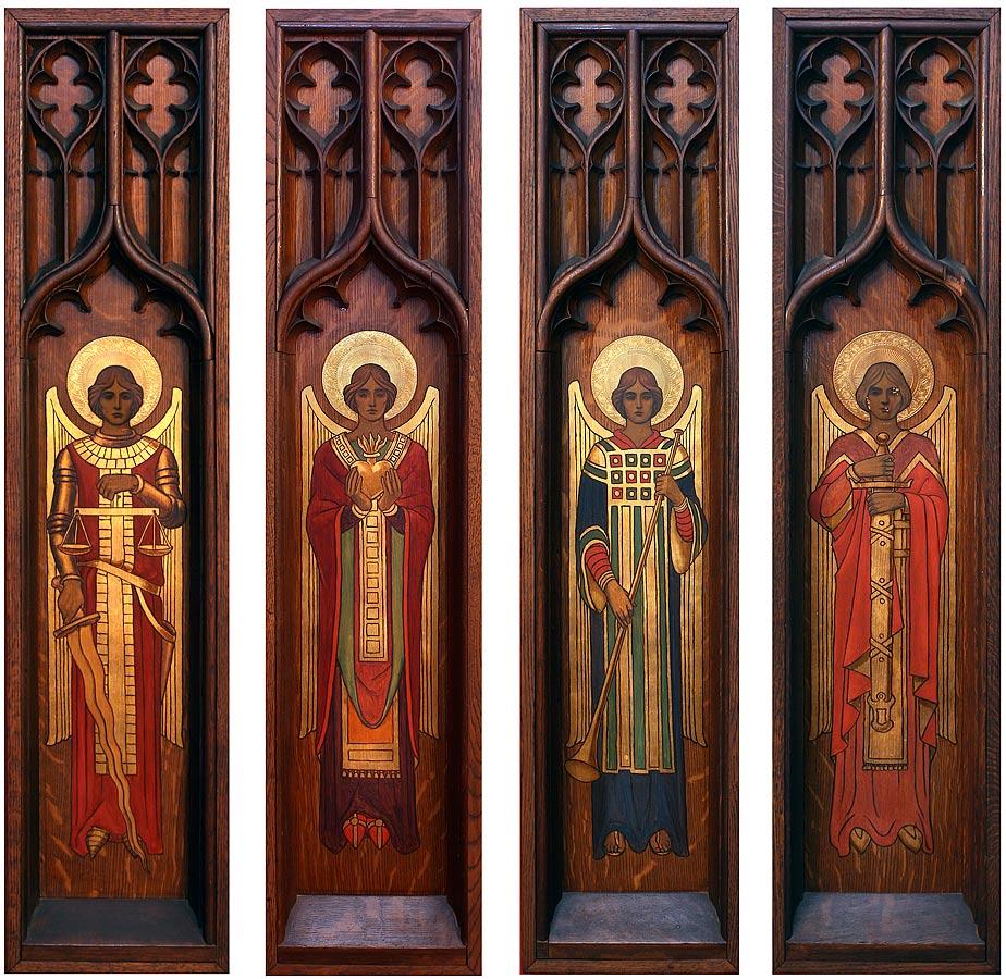Detail of Archangels Michael, Uriel, Gabriel, and Raphael