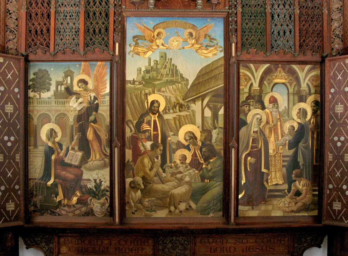 On left: Annunciation; in center: Nativity; on right: Presentation in the Temple
