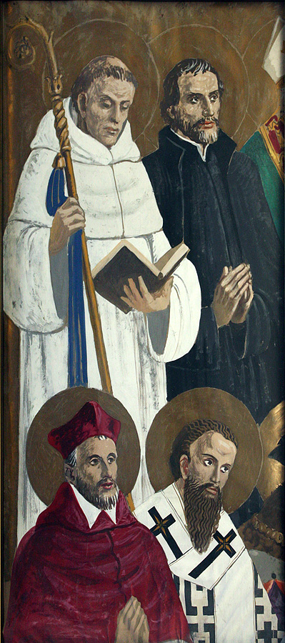 Four Saints, study for left side panel of the Fordham University Chapel altarpiece, gouache on paper, 1942