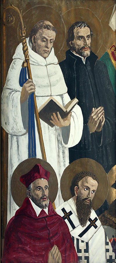 Full-scale study for four saints on left side panel in gouache on paper