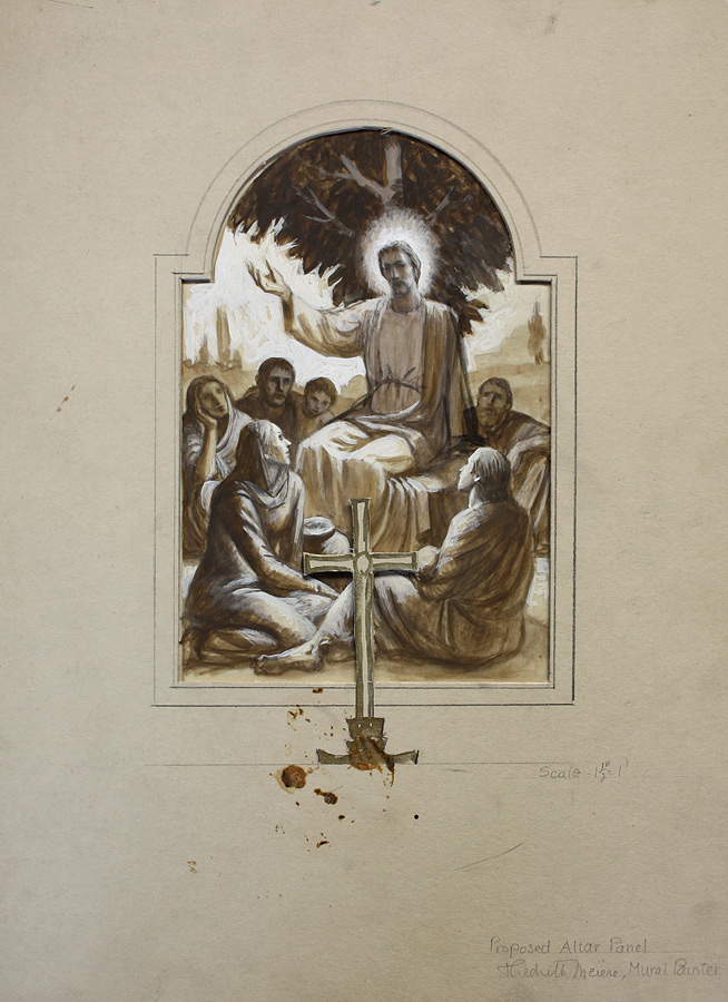 Proposed altarpiece at scale ½ inch to 1 foot in gouache on brown paper. Paper cross indicates height of cross placed on altar in front of painting