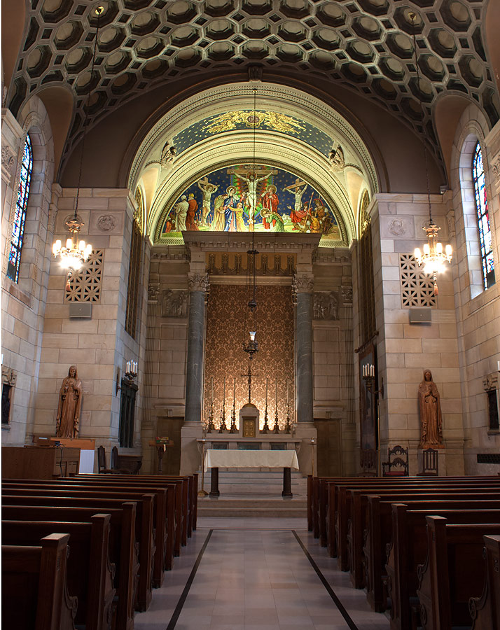 St. Isaac Jogues Chapel showing tympanum and barrel-vaulted ceiling