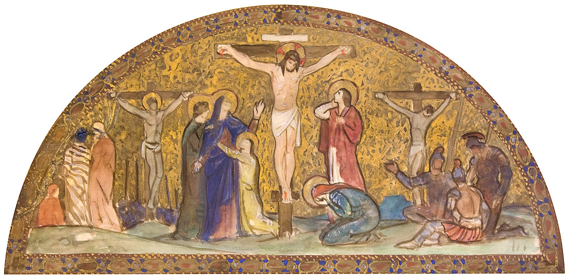 Early to-scale study in gouache for the Crucifixion