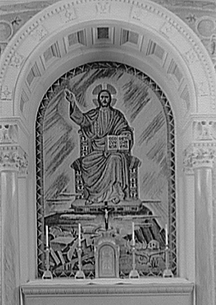 De Paoli, Bruno, Client, Hildreth Meière, and Robert J Reilly, Gottscho-Schleisner, Inc, photographer. Immaculate Conception Seminary, Huntington, Long Island. Altar detail. Huntington New York, 1946. Photograph. Retrieved from the Library of Congress