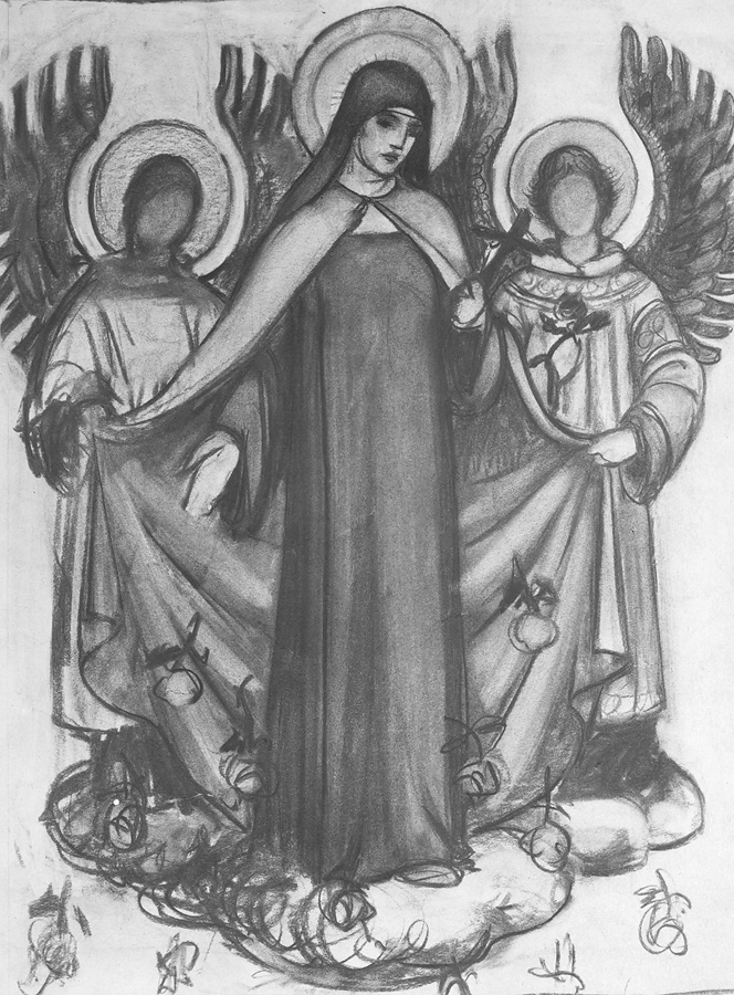 Study for St. Theresa in charcoal