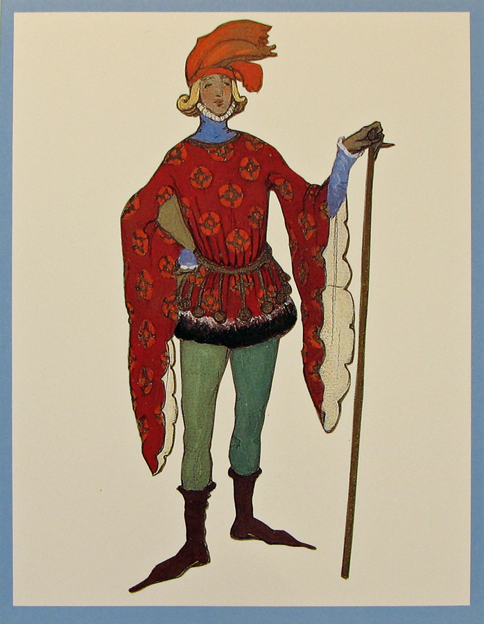 Costume for Squire, Act I-III, Costume design by Hildreth Meière for the 1917 Metropolitan Opera production of The Canterbury Pilgrims by Reginald De Koven. Courtesy Metropolitan Opera archives. Photographed by D. James Dee, 1989