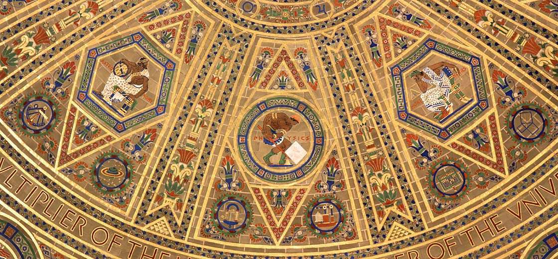 Detail of dome with Astronomy accompanied by sextant, planets, and stars; Physics accompanied by magnet and air pump; and Mathematics accompanied by abacus and diagram of the Pythagorean theorem. All in painted and gilded raised gesso covering only 50% of the acoustic plaster surface.
