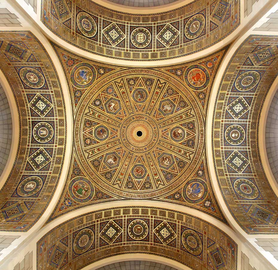 Dome, pendentives and arch soffits of Great Hall in painted and gilded raised gesso