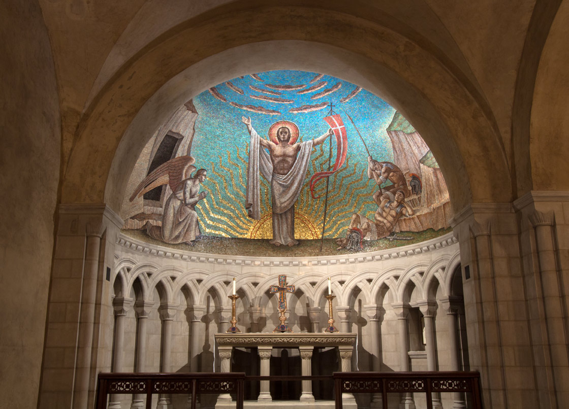 Apse mosaic with the Resurrection