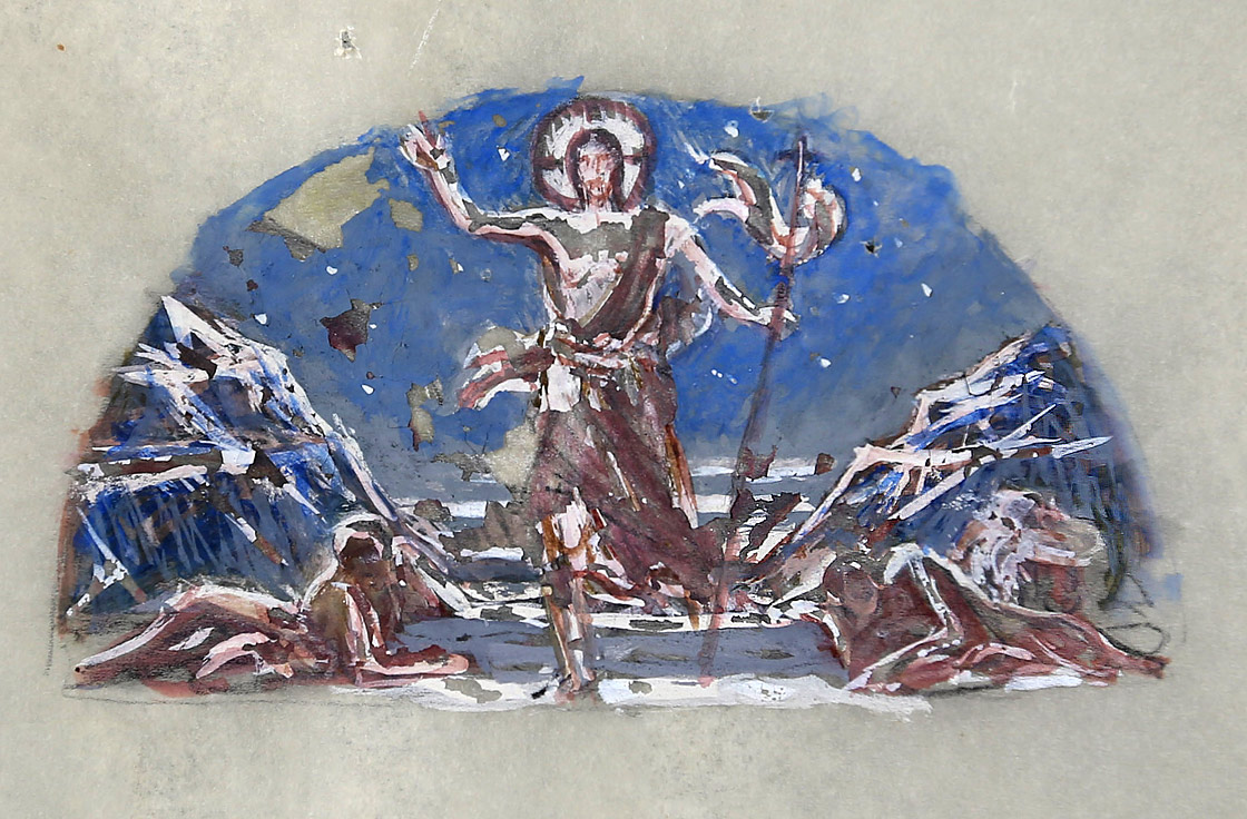 Earlier sketch with Christ in motion. Saint Louis University Archives DOC REC 50 (Ravenna Mosaic Company Records)