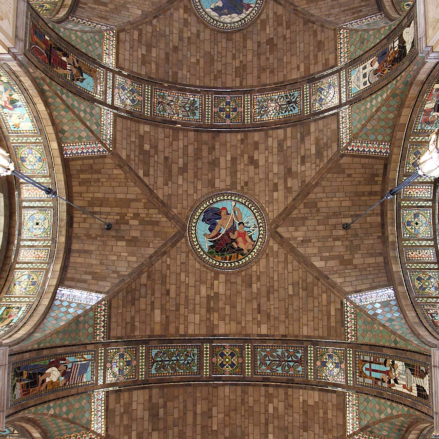 Middle dome of foyer ceiling with Life of the Present in center medallion and Labor, Public Spirit, Law, and Religion on panels for vaults supporting dome