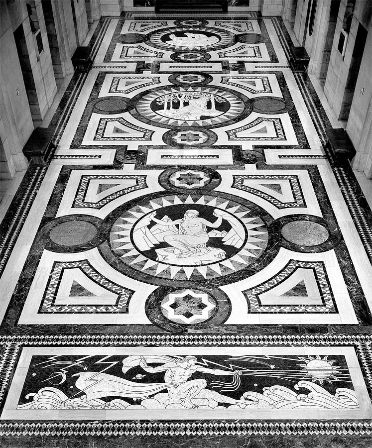 Foyer floor leading from vestibule to rotunda. Photograph by Sid Spelts, c. 1990. Nebraska Capitol Collections