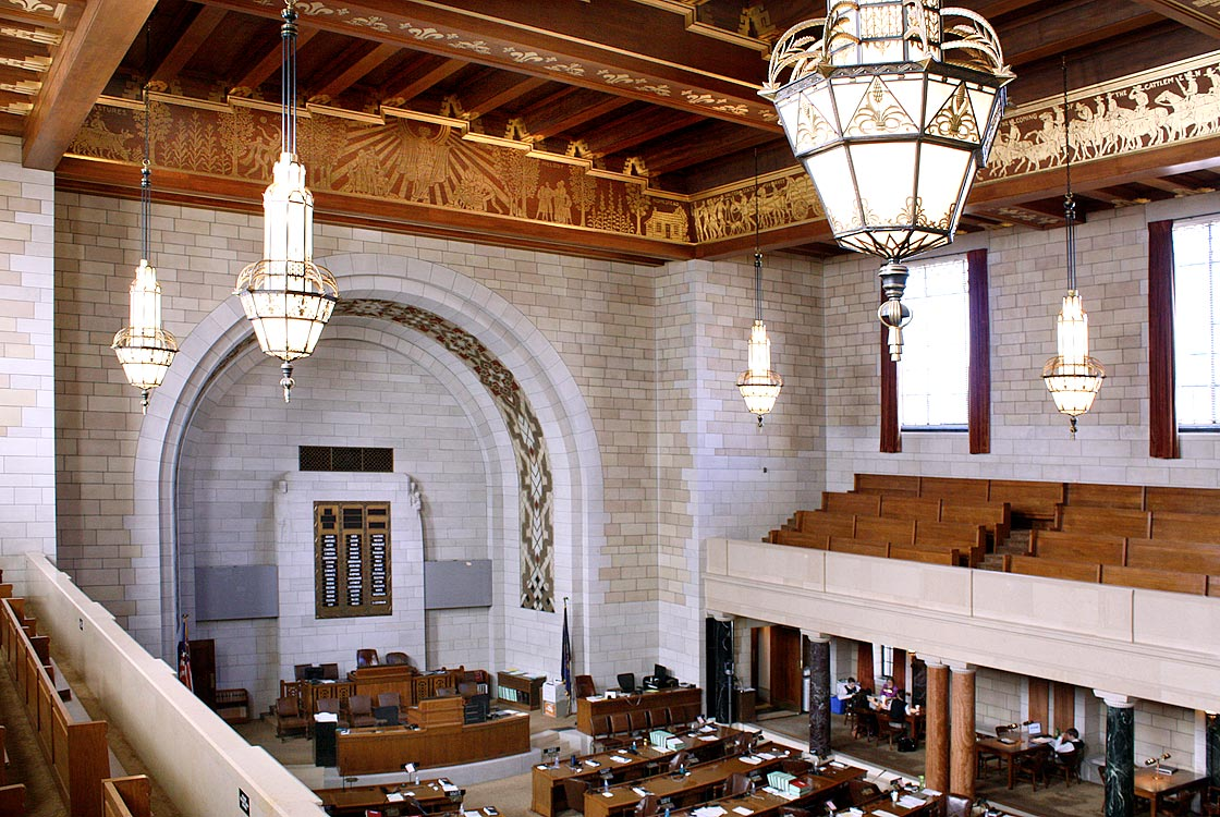 House of Representatives (West Legislative Chamber) beams below ceiling
