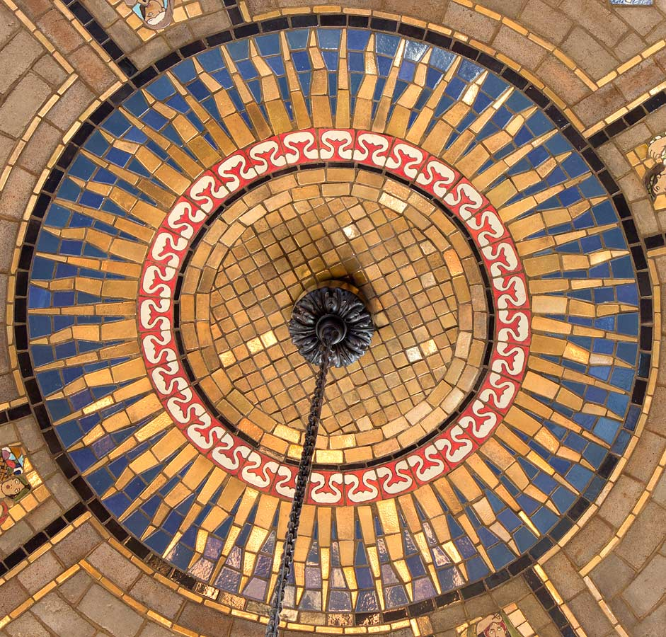 Detail of sun at center of dome