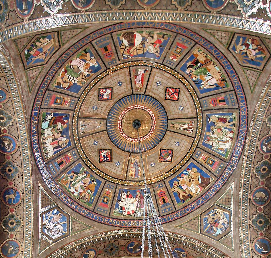Detail, vestibule dome, pendentives and arch soffits