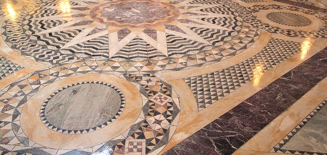 Detail of geometric patterns set into guilloches on vestibule floor