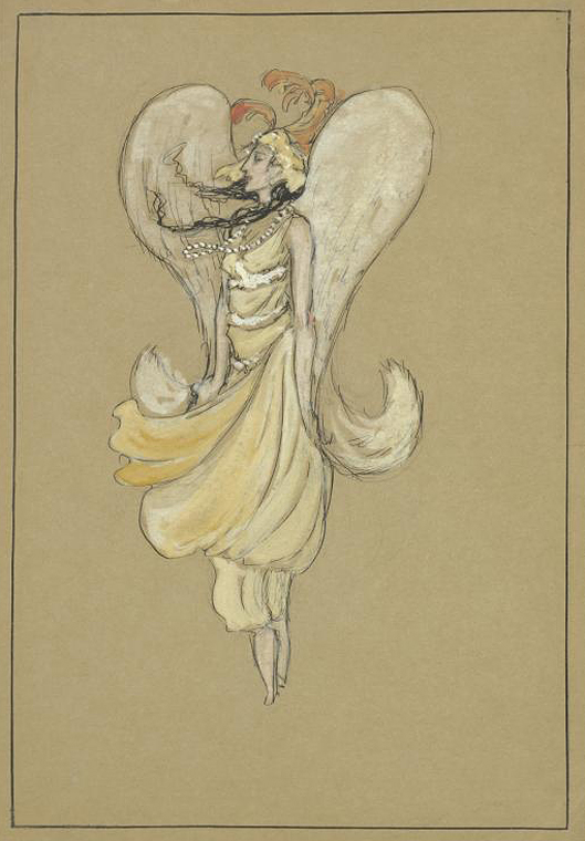 Hildreth Meière, Anna Pavlowa in Grecian-style dress, ink and gouache on brown paper, 18 x 12.5 cm., 1915, NYPL catalog ID (B-number):b12176035