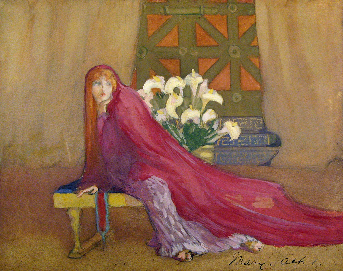 Hildreth Meière, Margaret Anglin in My Divine Friend, painting in graphite, watercolor, and tempera on paper, 1916, signed by Anglin