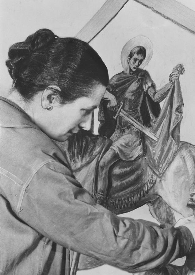 Meière painting Triptych 138, St. Martin of Tours and a Beggar. Photograph in Citizens Committee for the Army, Navy, and Air Force Records, 1940-1945. Archives of American Art, Smithsonian Institution, Washington, DC