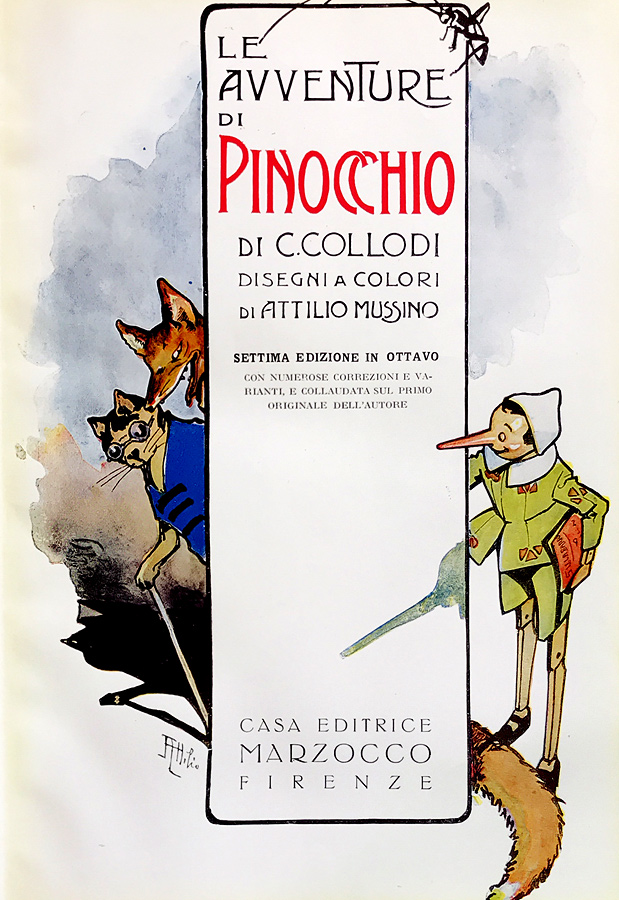Title page of Meière's 7th edition of Le Avventure di Pinocchio