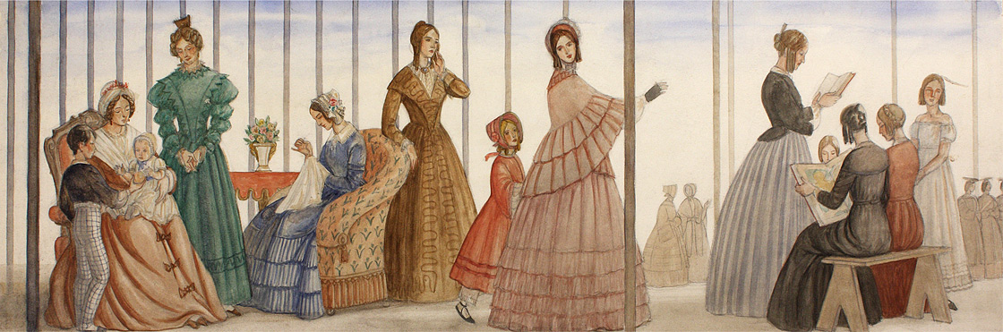 Section One of Progress of Women, 1833-1933, study in gouache on paperboard