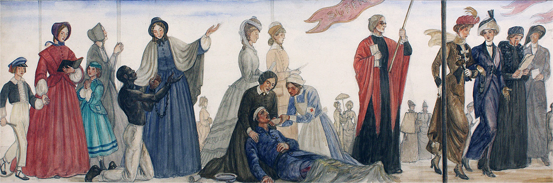 Section Two of Progress of Women, 1833-1933, study in gouache on paperboard