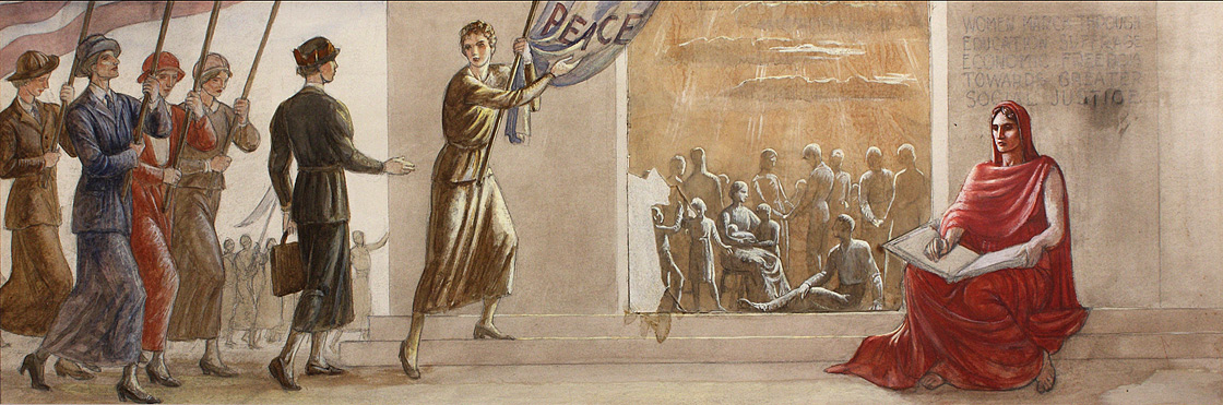 Section Three of Progress of Women, 1833-1933, study in gouache on paperboard