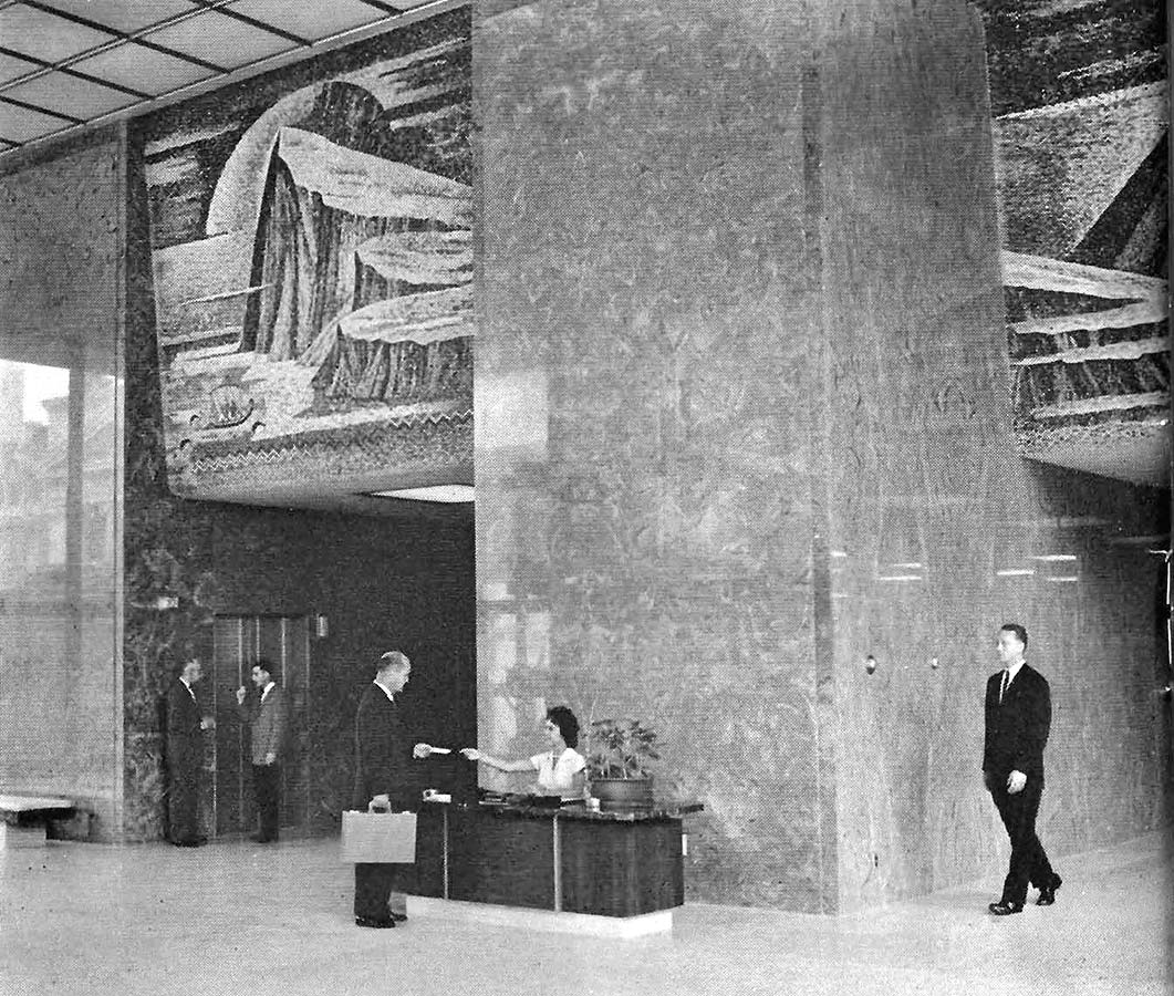 Prudential Plaza lobby with three-panel, marble mosaic of the Pillars of Hercules above the elevator banks
