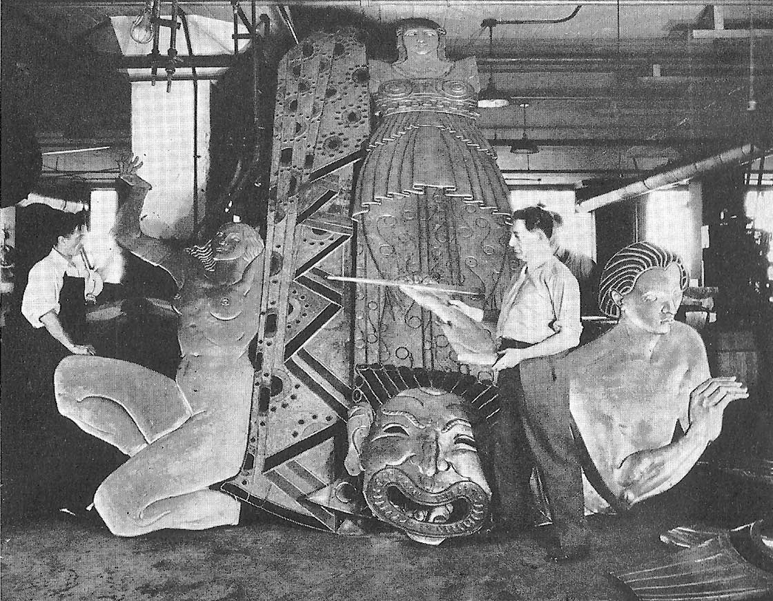 Oscar B. Bach in workshop in front of Drama, with torso of Pan, from Song, on right
