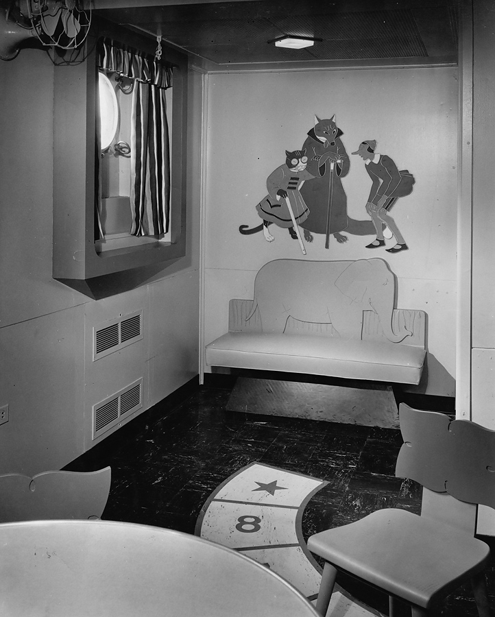 Corner of children's playroom with Pinocchio, Fox, and Cat