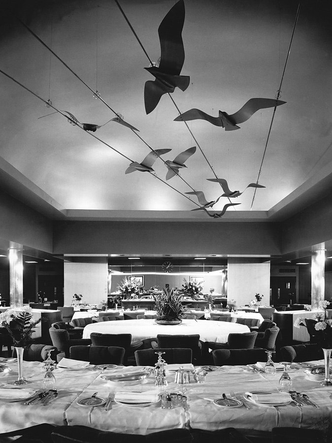 Nine metal gulls suspended from dining room ceiling