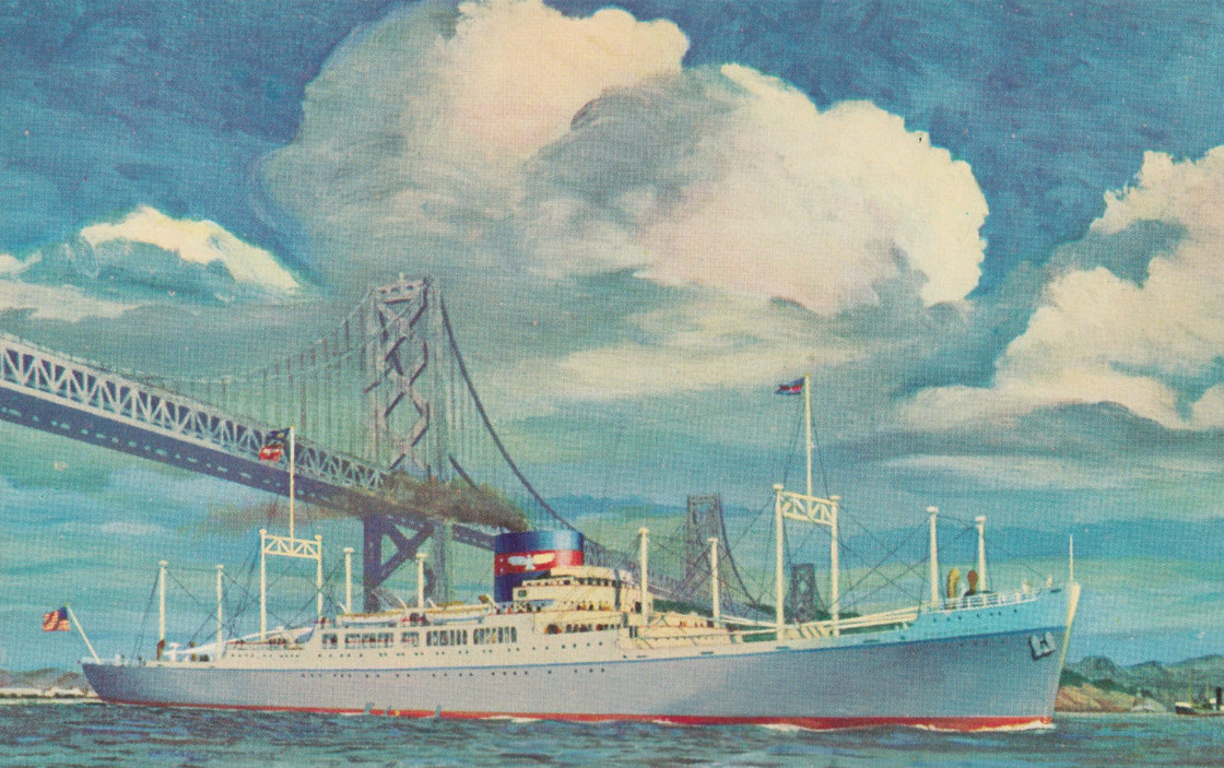 Painted postcard showing the S.S. President Monroe, 1960